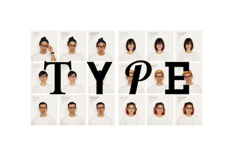 Type a Japanese eyewear brand - helvetica and garamond shaped spectacle frames